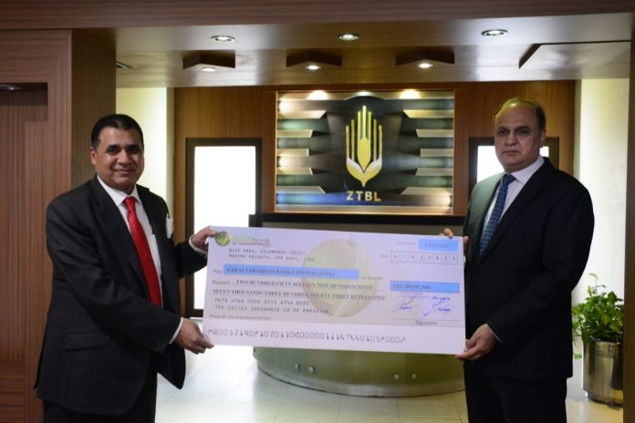 Mian Shahid Chairman UIG presenting the Cheque to President ZTBL