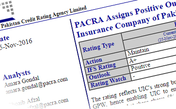 PACRA assigns positive outlook to IFS rating of UIC